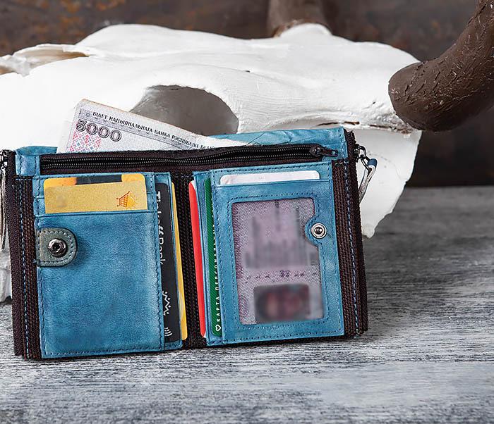 WL302-4 Мужске портмоне из натуральной кожи синего цвета фото 07