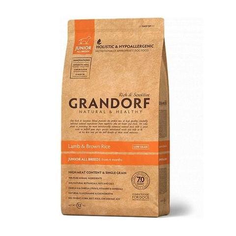 Сухой корм для щенков Grandorf Junior гипоаллергенный, ягненок, с бурым рисом 12 кг