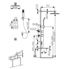 Смеситель KAISER Sonat 34577 скрытый монтаж с верхним душем и изливом (комплект 5 позиций)  схема