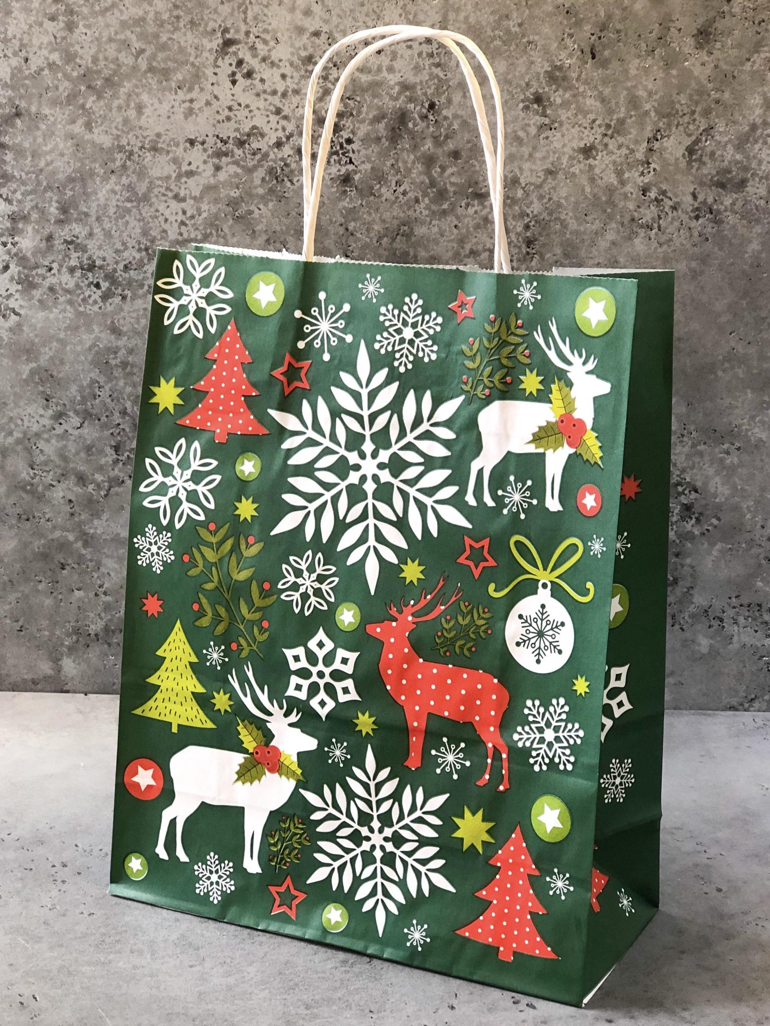 Пакет новогодний ЗЕЛЕНЫЙ «Северное сияние», 25×11×32 см
