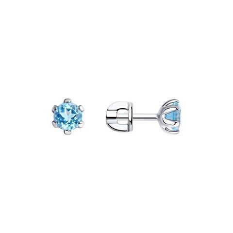 92020039 - Серьги-пусеты из серебра с  голубыми топазами