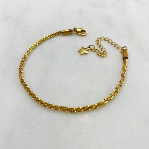 Браслет-цепочка тонкого спирального плетения, сталь (золотистый)
