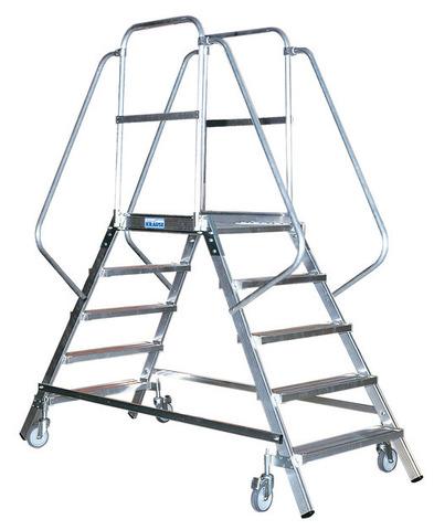 STABILO Односторонняя передвижная лестница с платформой с 5-ю алюм. ступеньками
