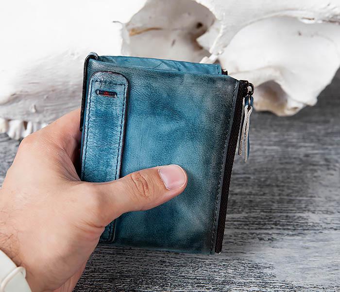 WL302-4 Мужске портмоне из натуральной кожи синего цвета фото 08