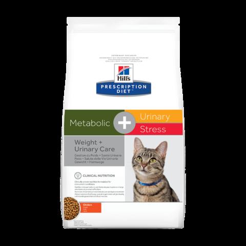 Hill's Prescription Diet Metabolic + Urinary Stress Сухой диетический корм для кошек при лечении и профилактике цистита, вызванного стрессом и способствует снижению и контролю веса с курицей