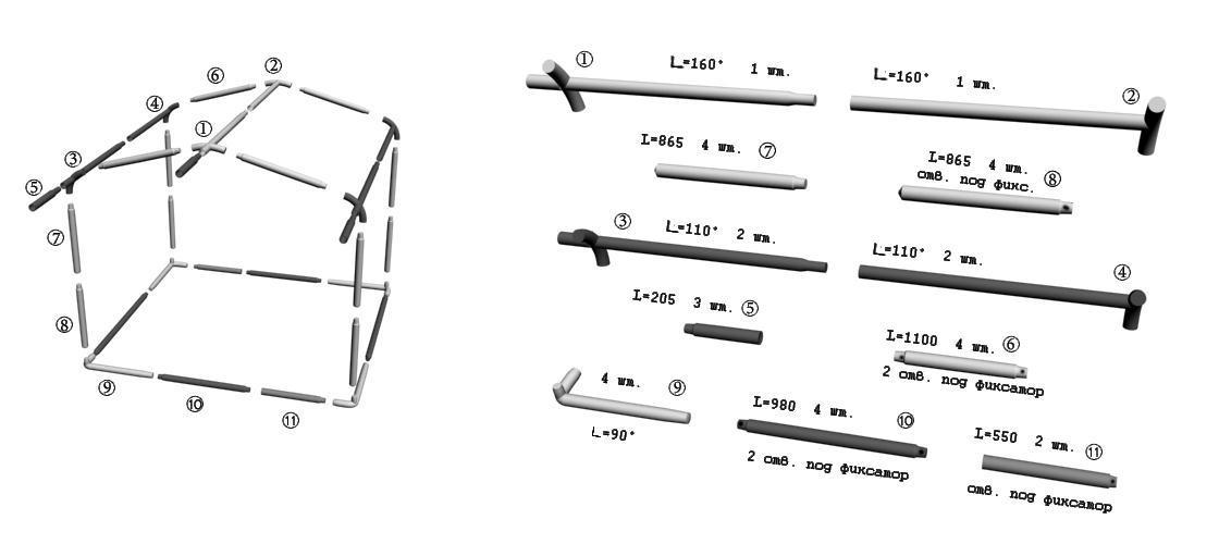 Схема сборки торговой палатки Митек Домик 2,5x2 Ø25 мм