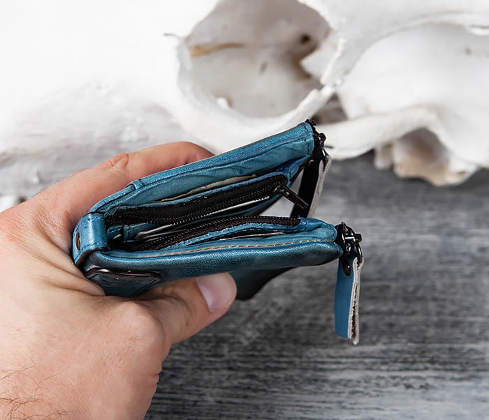 WL302-4 Мужске портмоне из натуральной кожи синего цвета фото 09