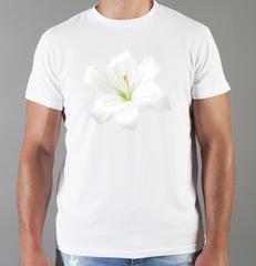 Футболка с принтом Цветы (Лилии) белая 006
