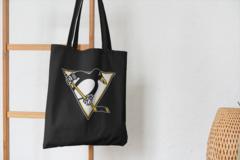 Сумка-шоппер с принтом НХЛ Питтсбург Пингвинз (NHL Pittsburgh Penguins) черная 003