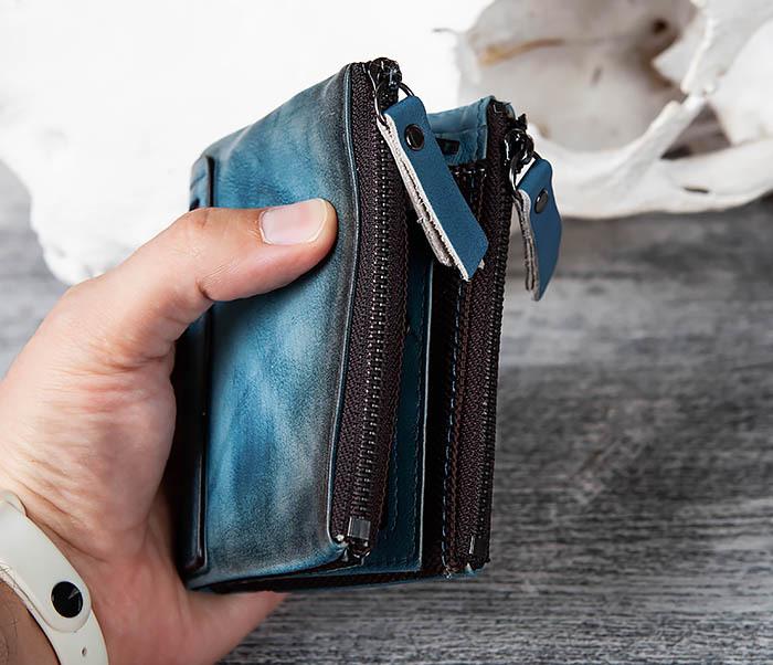 WL302-4 Мужске портмоне из натуральной кожи синего цвета фото 10