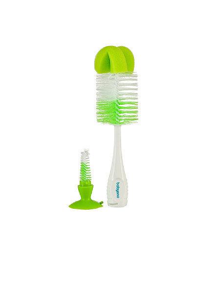 Ершик для бутылочек с губкой на присоске цвет зеленый BabyOno