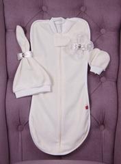 Велюровый комплект для новорожденных кокон шапочка антицарапки Принцесса