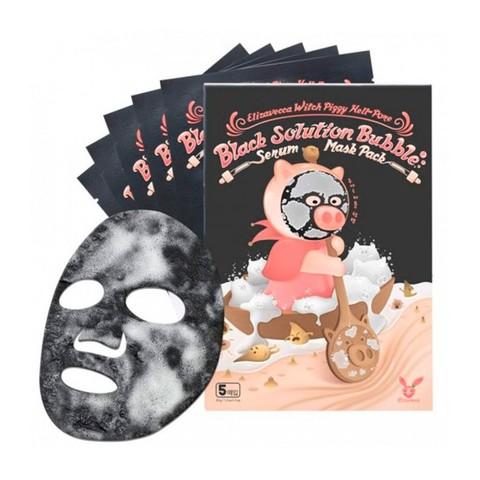 Elizavecca НАБОР Тканевая маска для лица ПУЗЫРЬКОВАЯ Witch Piggy Hell-Pore Black Solution Bubble Serum Mask Pack, 5 шт