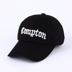 Кепка с вышитым логотипом Compton (Бейсболка Комптон) черная 1