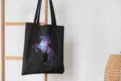 Сумка-шоппер с принтом Единорог (Unicorn) черная 003