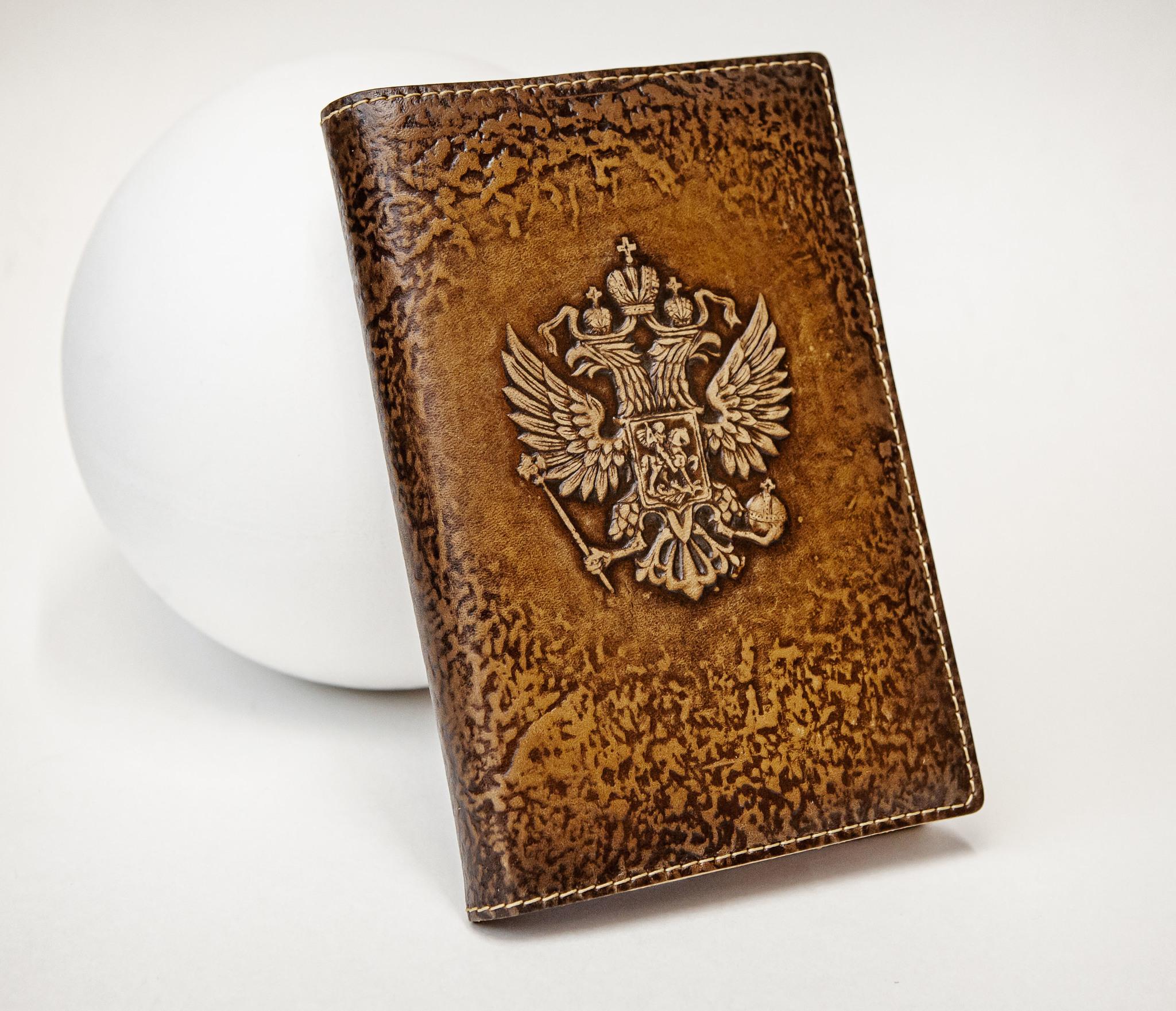 BY05-53-08 Кожаный ежедневник «Герб России» со сменным блоком (А6) фото 02