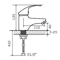 Фото размеры смесителя для умывальника Zegor SWZ1-A182