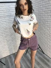 Трикотажная белая футболка женская оптом