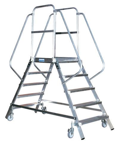 STABILO Односторонняя передвижная лестница с платформой  7 ступ.