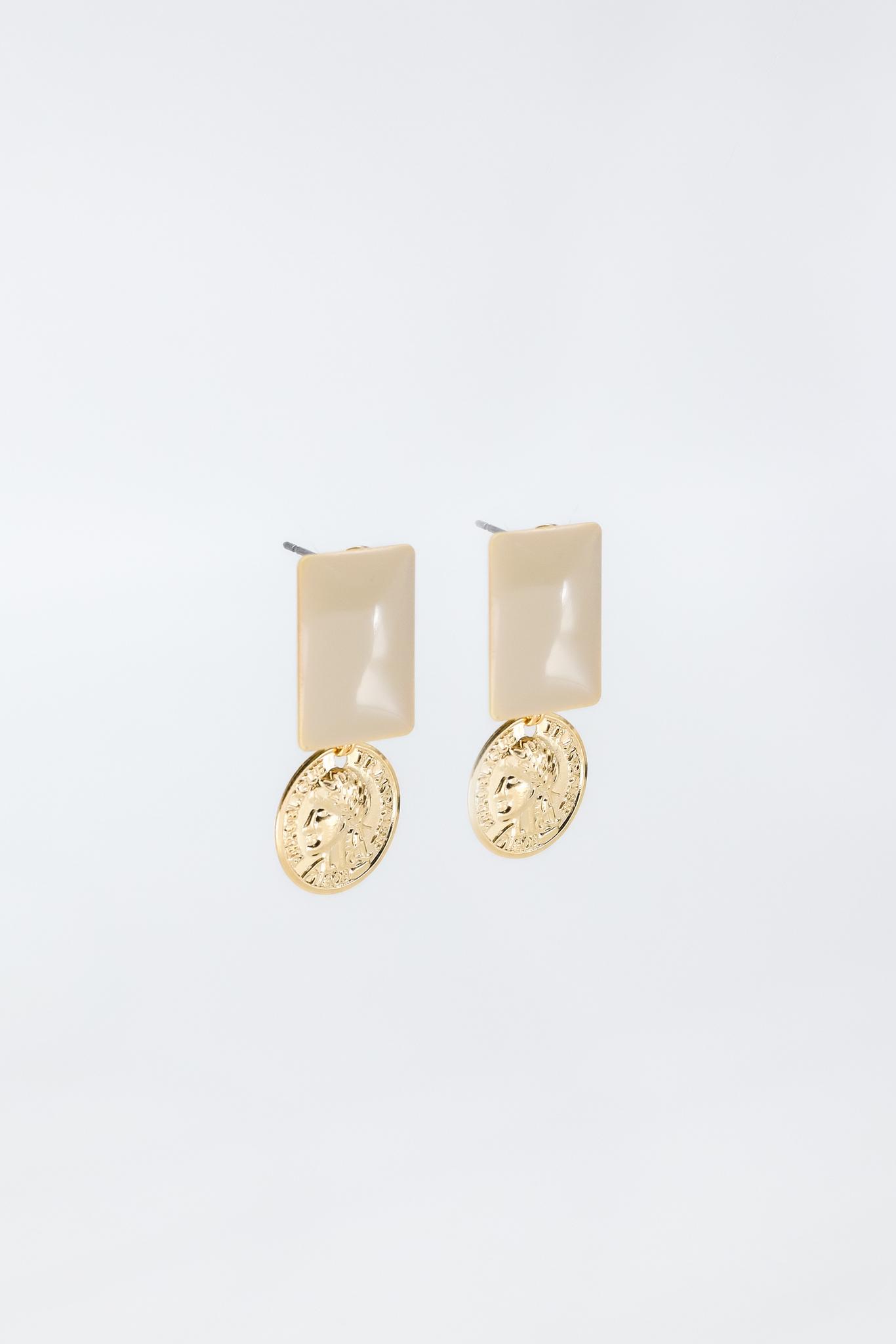Серьги с бежевой эмалью и подвеской «монетка»  оптом и в розницу