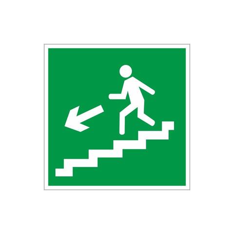 E14 Направление к эвакуационному выходу по лестнице вниз, левосторонний (пленка ПВХ, ф/л, 200х200)