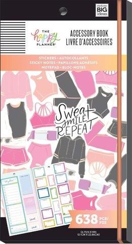 Блокнот со стикерами и стекерблоками Accessory Book - fitness - 638 шт