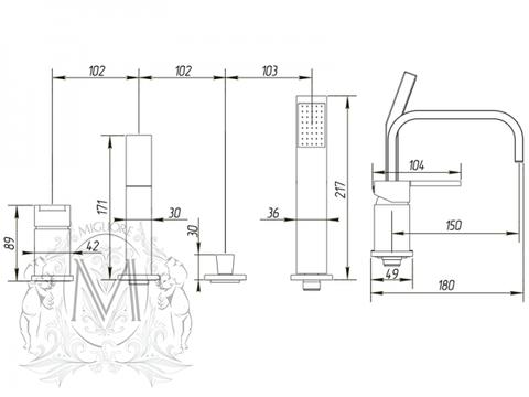 Смеситель на борт ванны Migliore Kvant ML.KVT-2756 схема