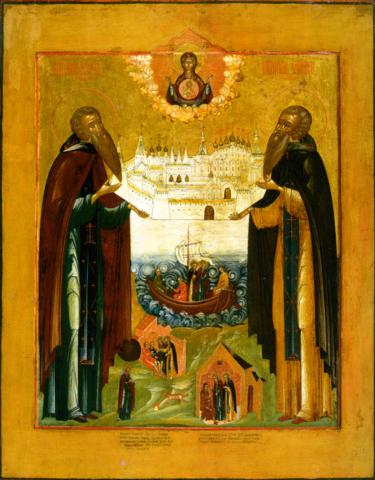 Икона святые Зосима и Савватий Соловецкие на дереве на левкасе мастерская Иконный Дом