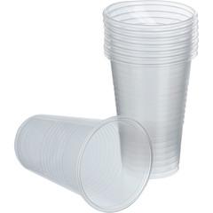 Стакан одноразовый Бюджет пластиковый белый 200 мл 100 штук в упаковке