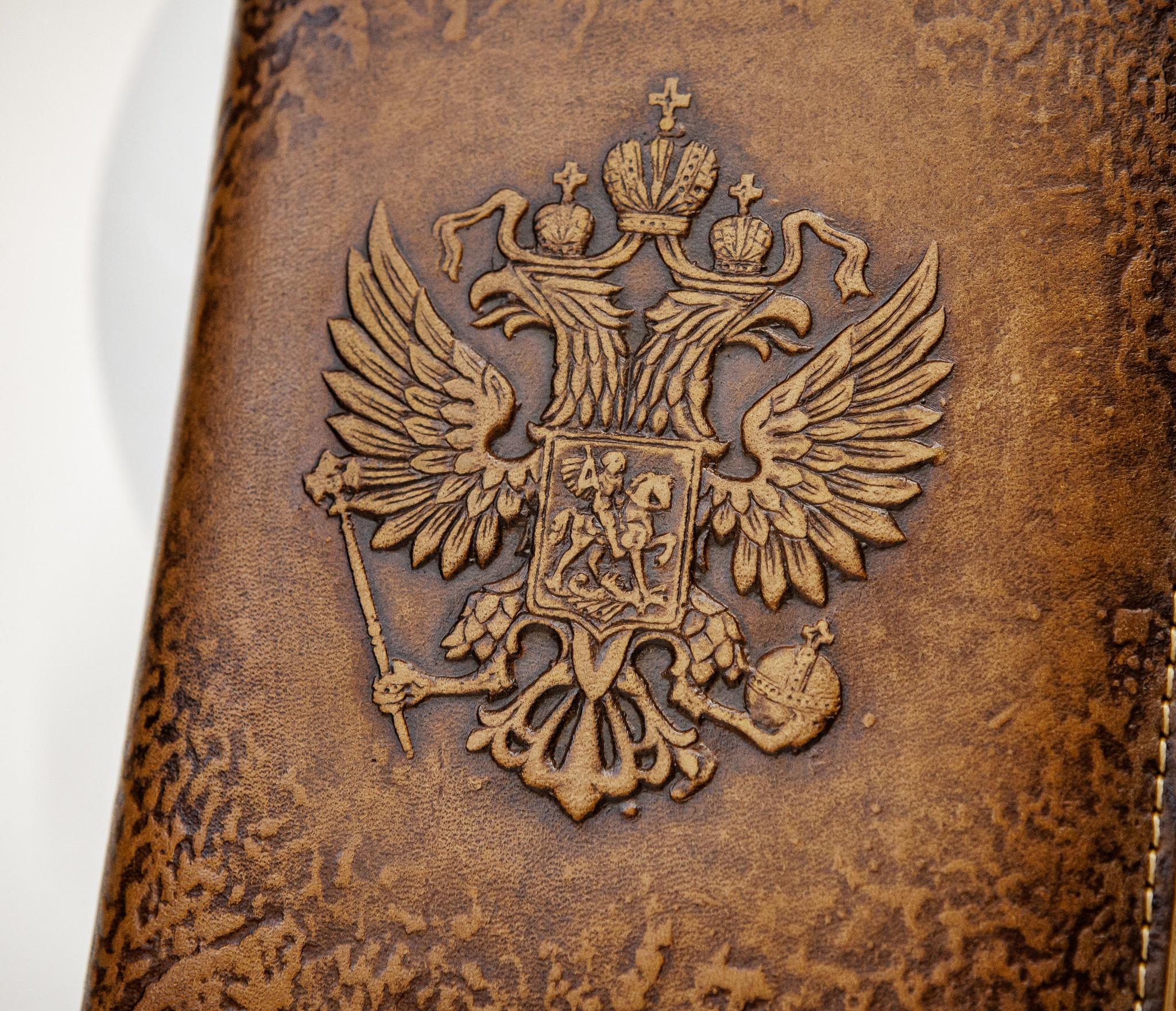 BY05-53-08 Кожаный ежедневник «Герб России» со сменным блоком (А6) фото 03