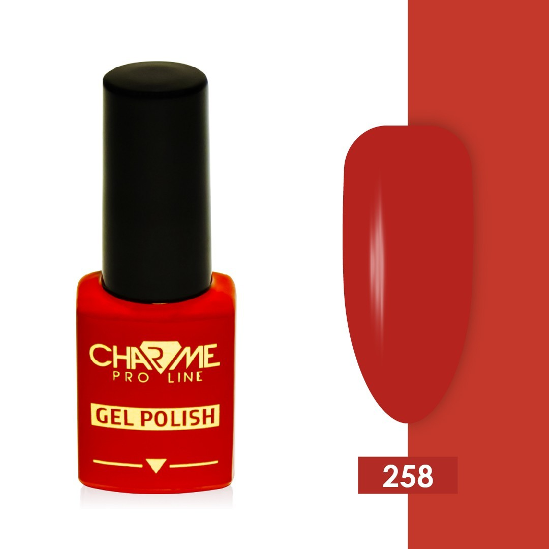 Гель-лак 258 - люминесцентный красный Charme 10 мл