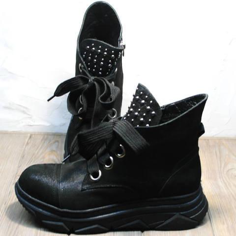 Осенние ботинки в спортивном стиле женские. Женские кожаные ботинки сникерсы Rifellini Rovigo Black Demi