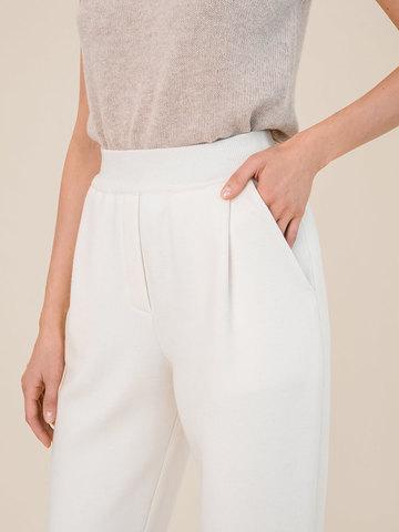 Женские брюки молочного цвета из 100% шерсти - фото 5