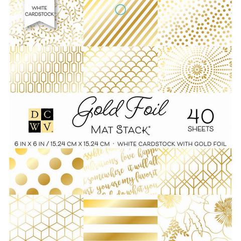Набор односторонней  бумаги 15х15 см -DCWV Single-Sided Cardstock Stack -Gold Foil - White W/Gold Foil-40 л