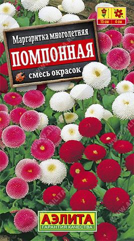 Маргаритка Помпонная, смесь окрасок тип ц/п