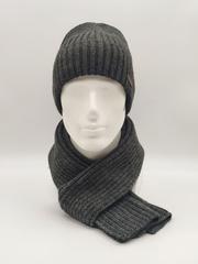 Мужской комплект шапка с отворотом и шарф, темно-серый