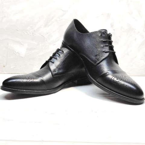 Мужские туфли дерби броги. Классические туфли черные Ikoc-Black Leather.