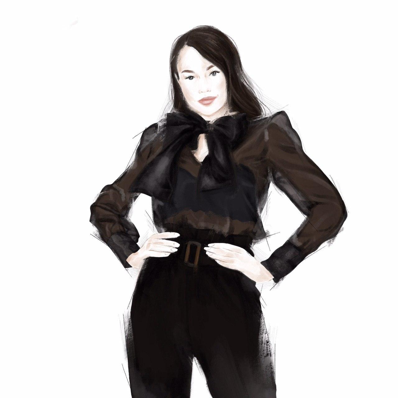 Блузка шелковая с длинным рукавом Tender