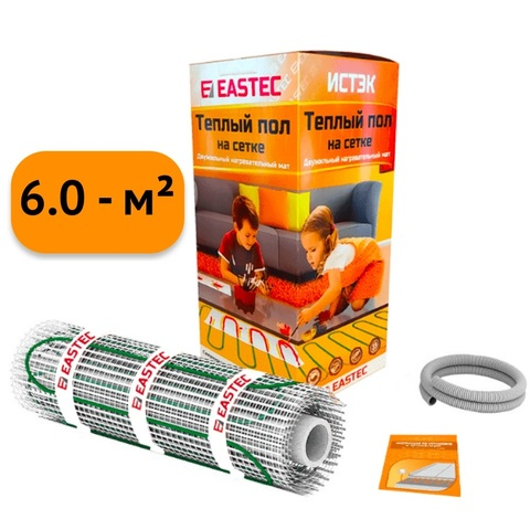 Электрический теплый пол под плитку. Нагревательный мат Eastec ECM - 6.0. (6.0 кв.м/960W). EASTEC ECM - 6,0