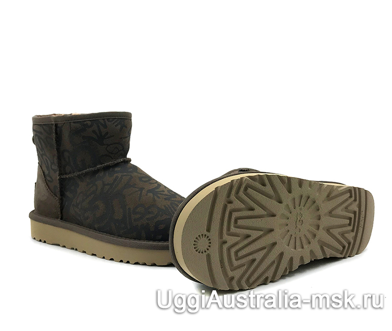 UGG Women's Classic Mini Graffiti Sparkle Swampy