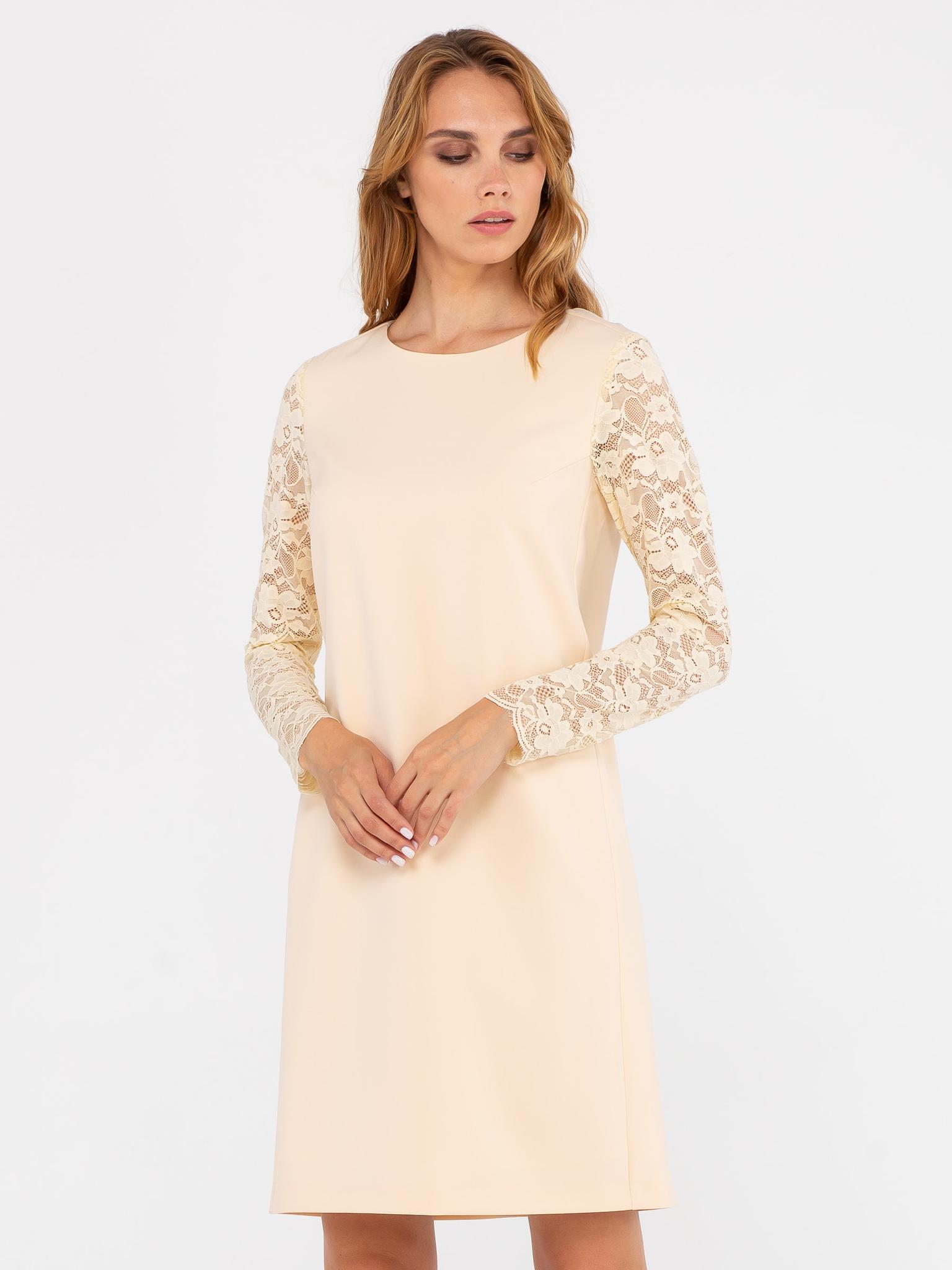 Платье З241-303 - Элегантное платье прямого силуэта из полиэстера. Оригинальная отделка рукавов и оптимальная длина до колена позволяют надевать платье в особых случаях. Нежный цвет ткани подчеркнет красоту кожи и скроет недостатки. Отличный выбор для тех, кто ценит элегантность и простоту.