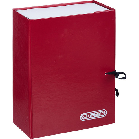 Папка архивная Attache А4 из бумвинила красная 100 мм (складная, 2 х/б завязки, до 1000 листов)
