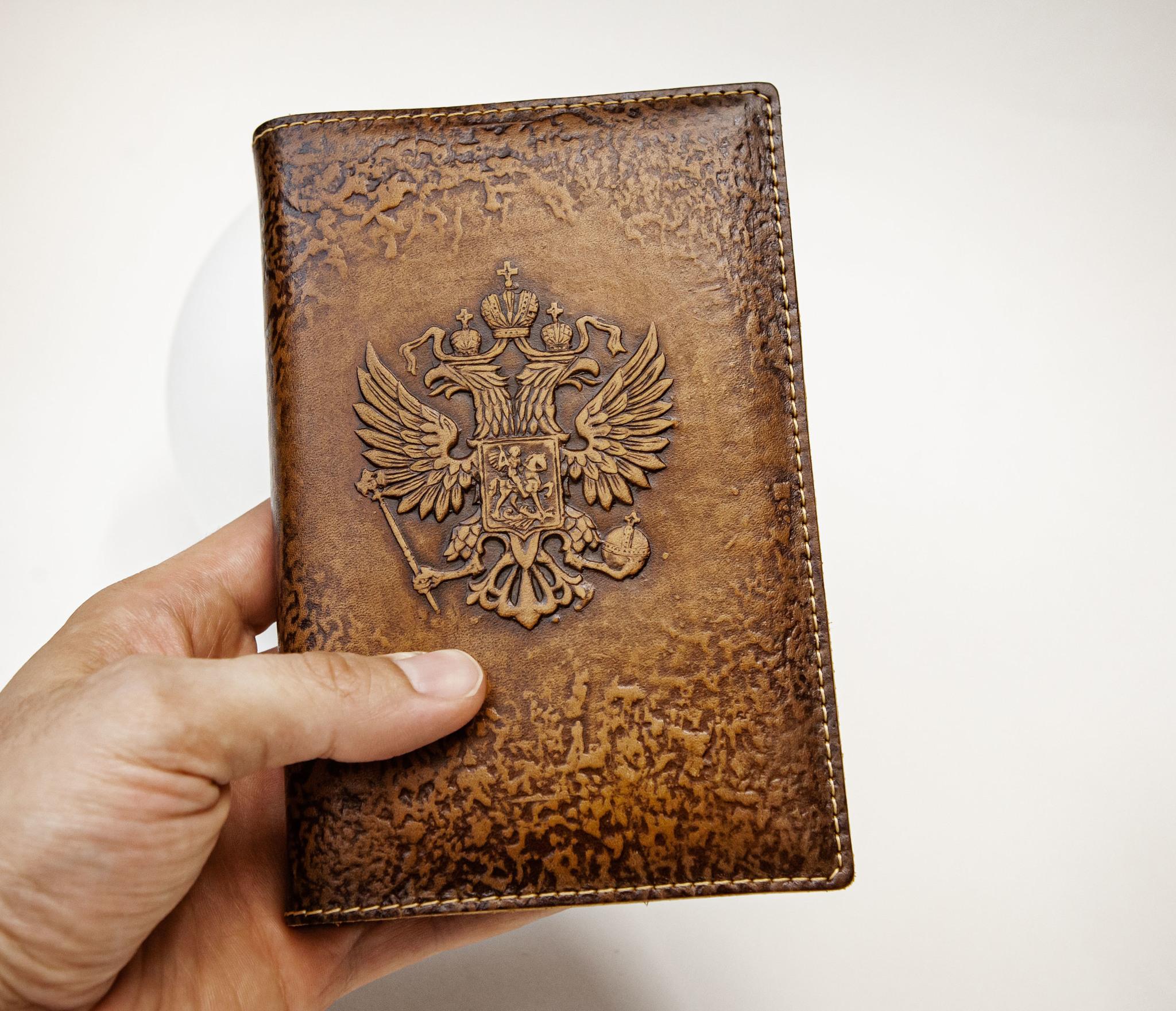 BY05-53-08 Кожаный ежедневник «Герб России» со сменным блоком (А6) фото 05