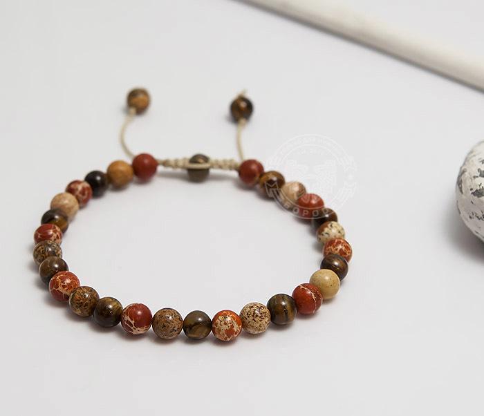 BS750 Мужской яркий браслет из натуральной яшмы фото 03