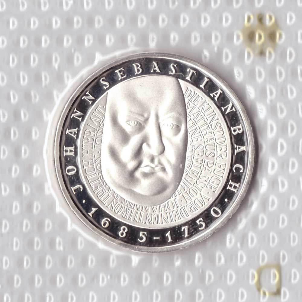 10 марок. 250 лет со дня смерти Иоганна Себастьяна Баха (D). Серебро. 2000 г. PROOF. В родной запайке