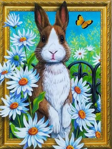Алмазная Мозаика 5D 40x50 Кролик и ромашки
