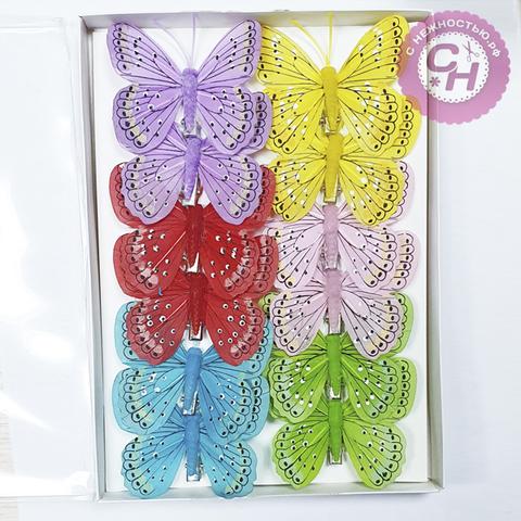 Бабочки перьевые на зажиме, пятнышки, 8 см, 1 шт.