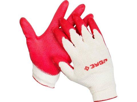 ЗУБР УНИВЕРСАЛ, размер L-XL, перчатки с одинарным обливом