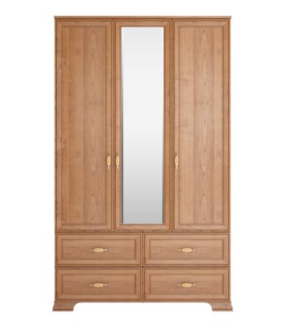 Шкаф для одежды трехдверный с зеркалом Венеция 1 с ящиками Ижмебель клен торонто