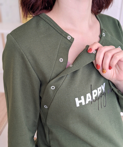 Теплая сорочка для беременных и кормящих HAPPY MOM (темно-зеленый), футер, фото2